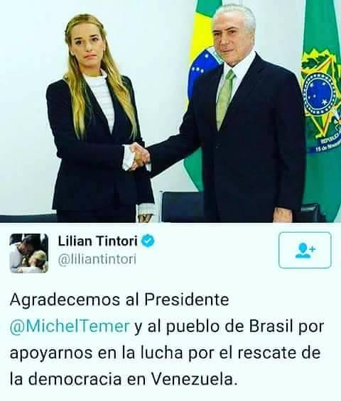 Lilian Tintori ricevuta dal Presidente golpista Brasiliano Temer